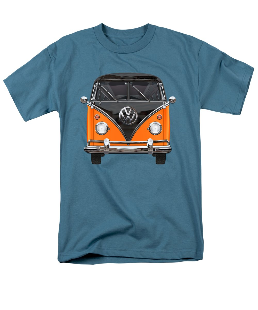 'volkswagen Type 2' Collection By Serge Averbukh Men's T-Shirt (Regular Fit) featuring the photograph Volkswagen Type 2 - Black And Orange Volkswagen T 1 Samba Bus Over Blue by Serge Averbukh