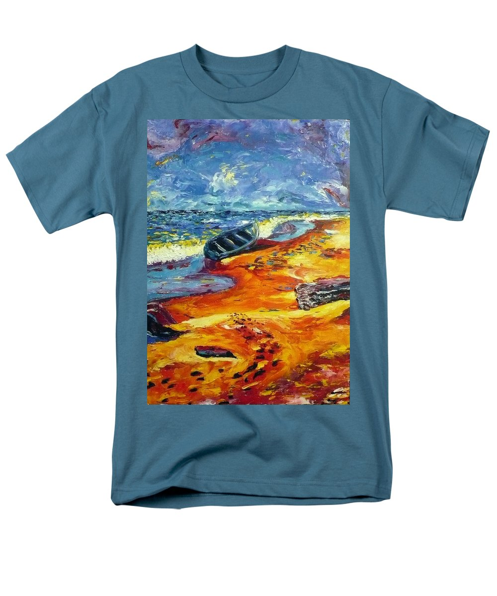 Landscape Men's T-Shirt (Regular Fit) featuring the painting A canoe at the beach by Ericka Herazo