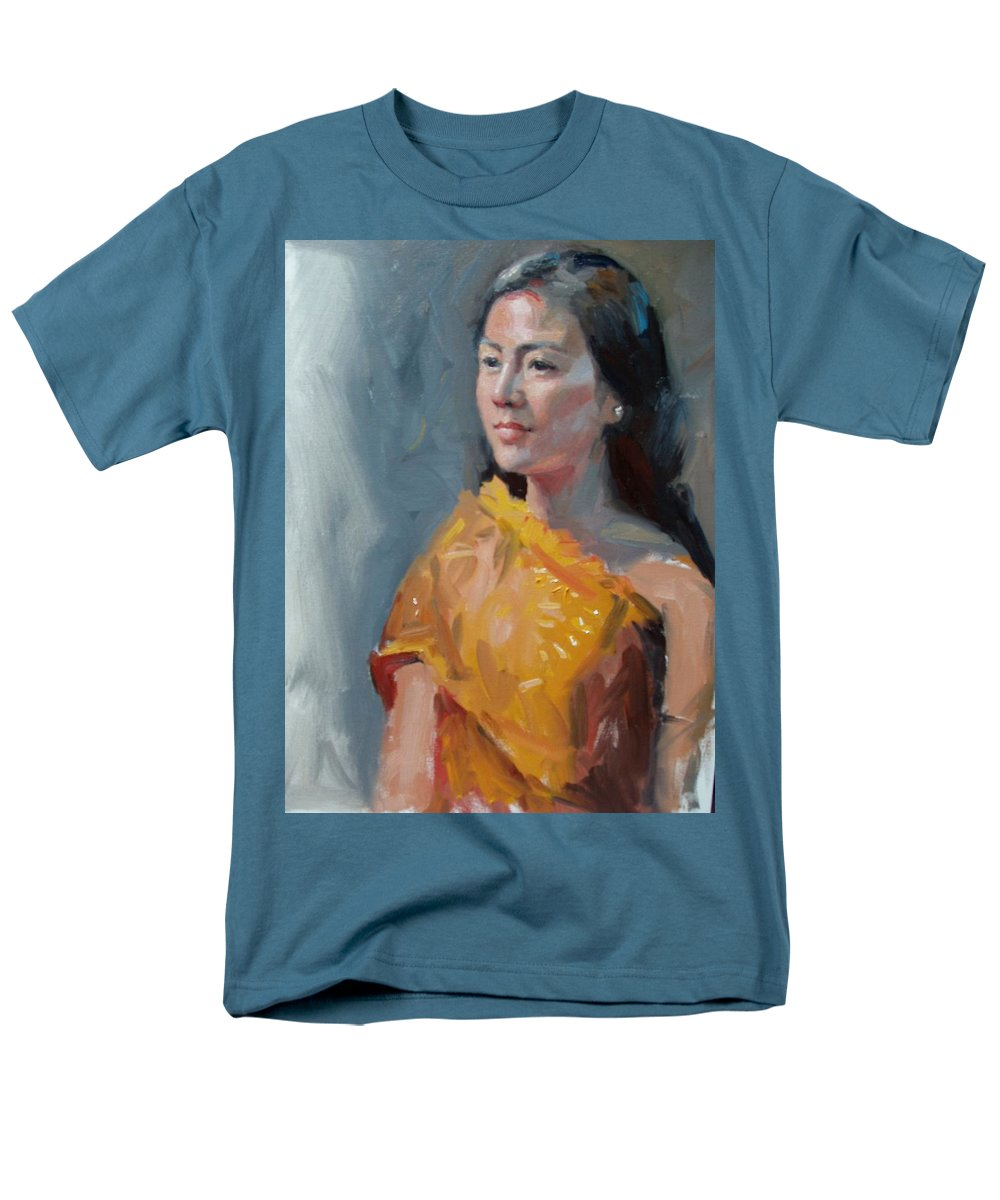 Portrait Men's T-Shirt (Regular Fit) featuring the painting Anna by Dianne Panarelli Miller