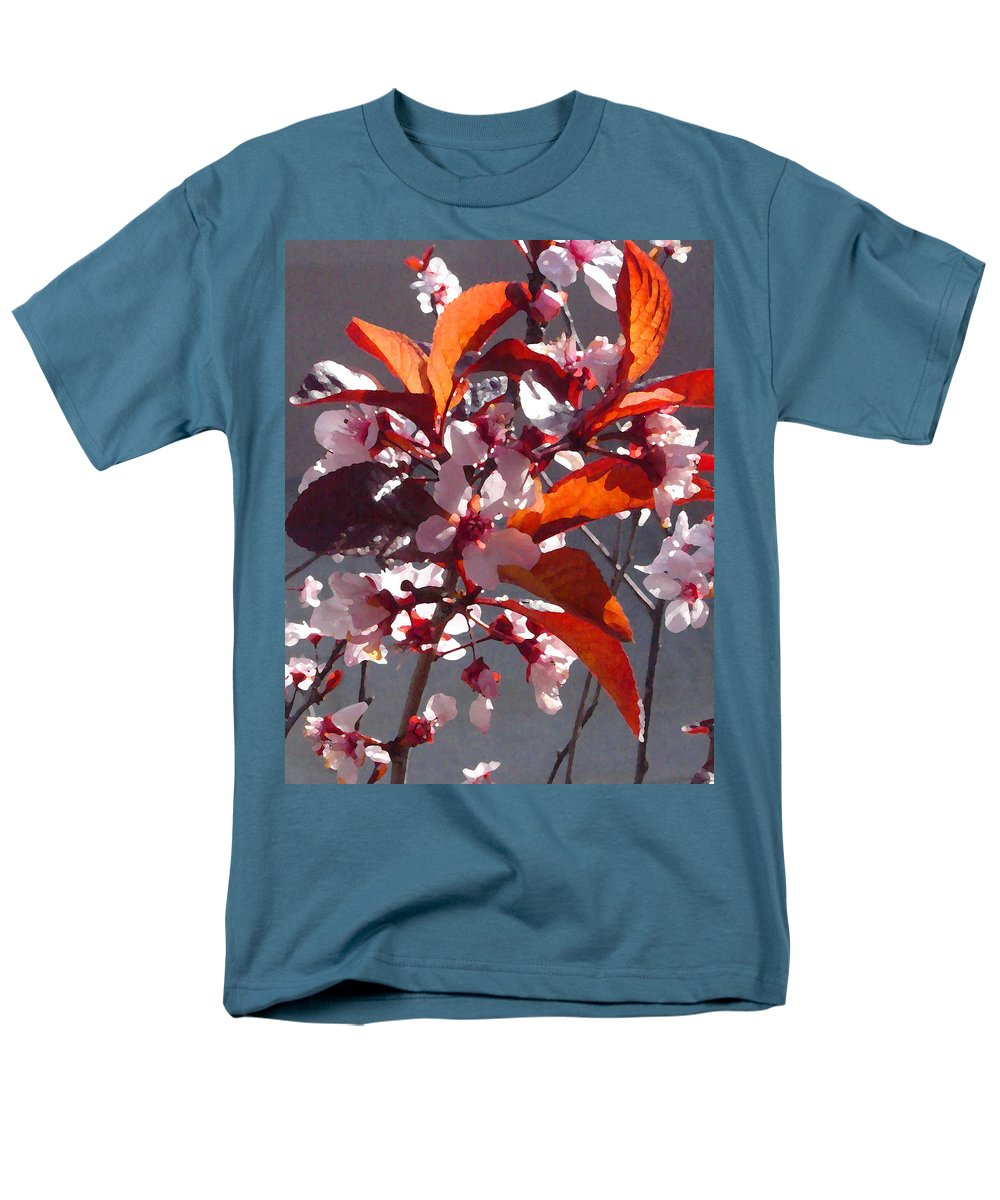Floral Men's T-Shirt (Regular Fit) featuring the painting Backlit Pink Tree Blossoms by Amy Vangsgard
