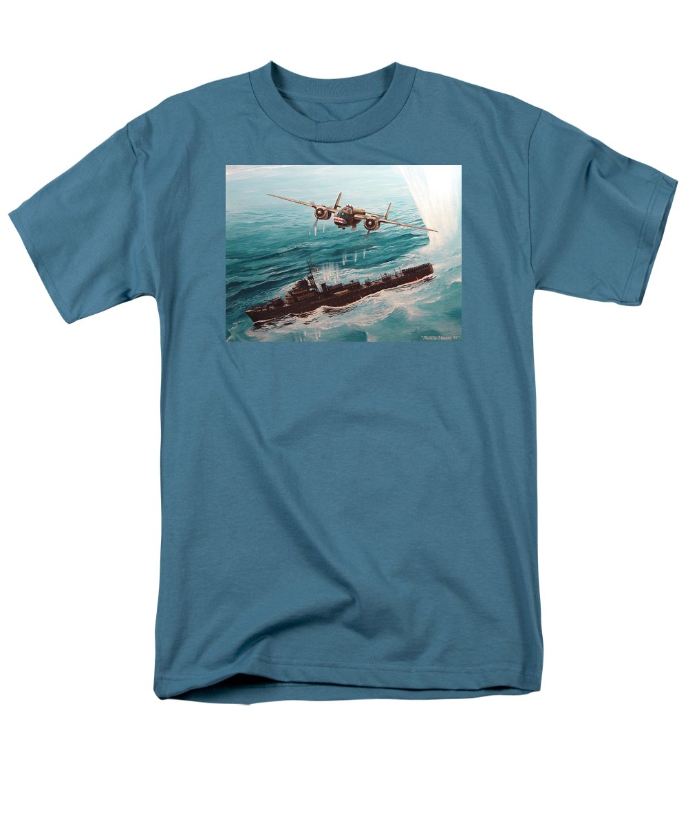 Military Men's T-Shirt (Regular Fit) featuring the painting Bat Outta Hell by Marc Stewart