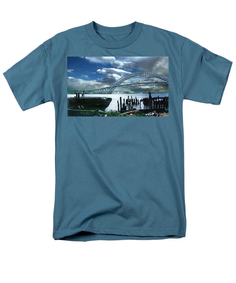Seascape Men's T-Shirt (Regular Fit) featuring the photograph Bayonne Bridge by Steve Karol