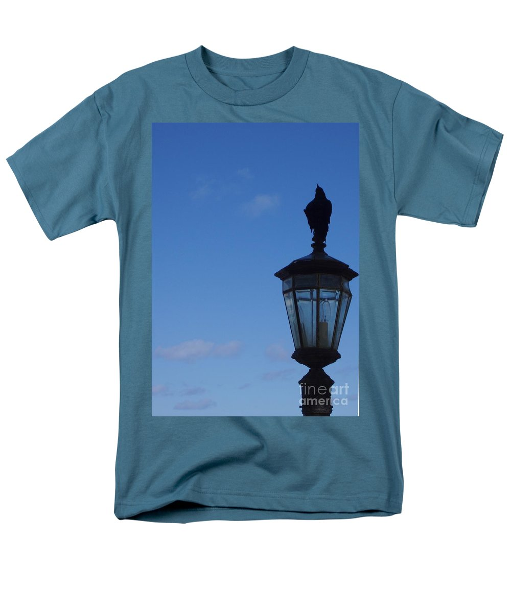 Bird Men's T-Shirt (Regular Fit) featuring the photograph Bird on Lamplight by Deborah Crew-Johnson