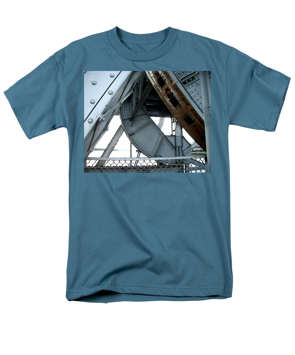 Steel Men's T-Shirt (Regular Fit) featuring the photograph Bridge Gears by Tim Nyberg
