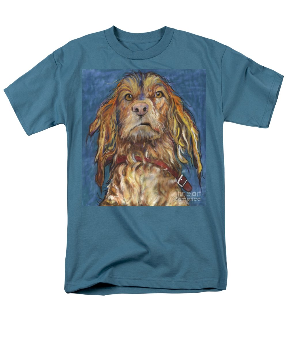 Golden Retriever Painting Men's T-Shirt (Regular Fit) featuring the pastel Drenched by Pat Saunders-White