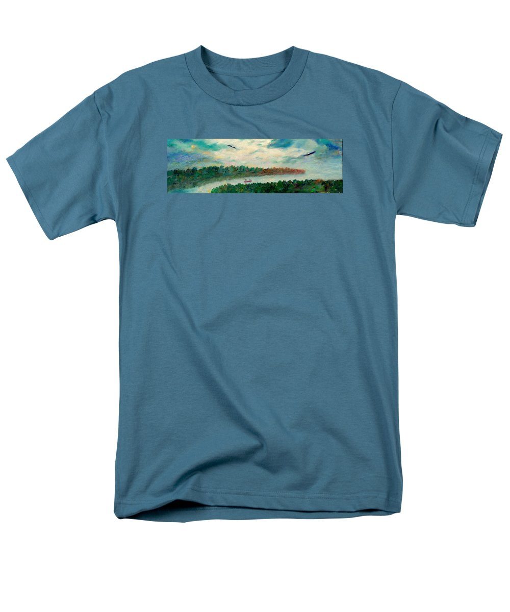 Canoeing On The Big Canadian Lakes Men's T-Shirt (Regular Fit) featuring the painting Exploring Our Lake by Naomi Gerrard