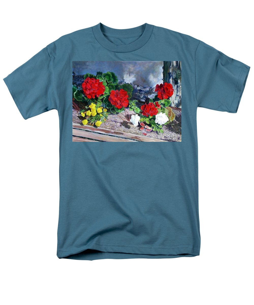 Colorful Flowers Outside Of The Church Men's T-Shirt (Regular Fit) featuring the painting Flowers At Church by Scott Robertson