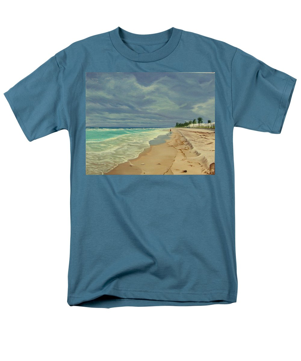 Beach Men's T-Shirt (Regular Fit) featuring the painting Grey Day on the Beach by Lea Novak