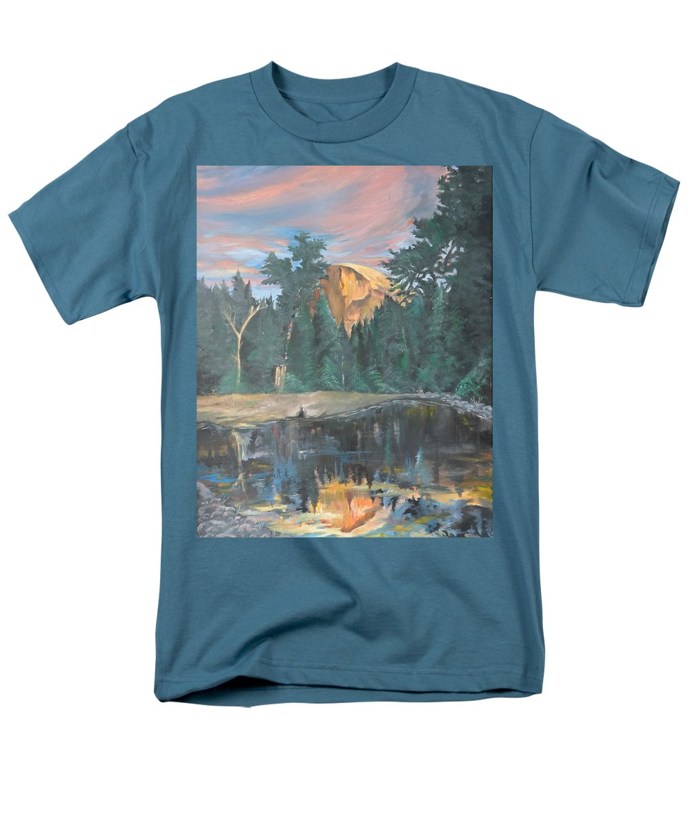 Sunset Men's T-Shirt (Regular Fit) featuring the painting Half Dome Sunset by Travis Day