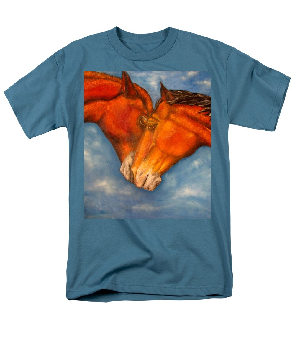 Horses Men's T-Shirt (Regular Fit) featuring the painting Horses In Love.oil Painting by Natalja Picugina