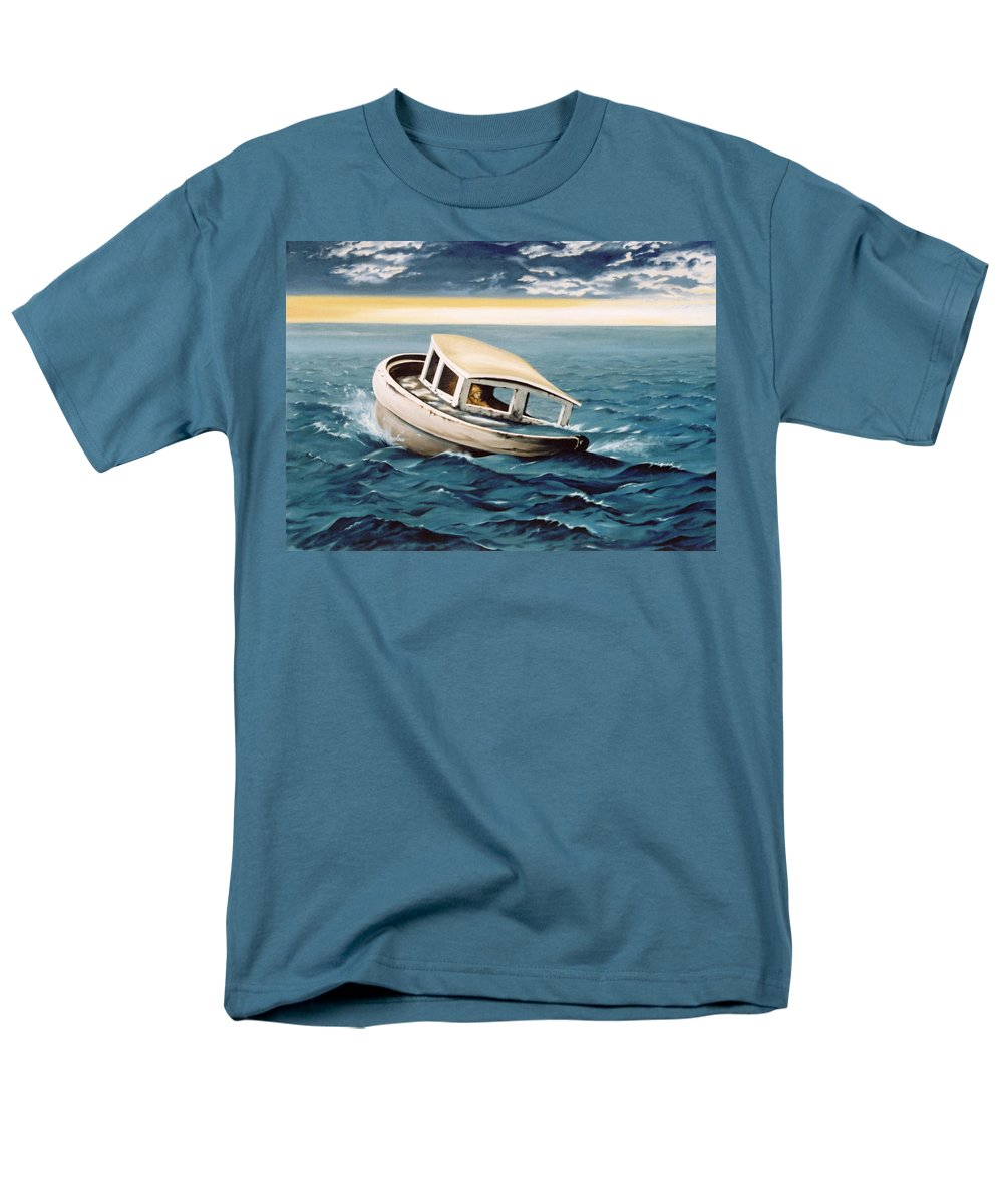 Seascape Men's T-Shirt (Regular Fit) featuring the painting Lost at Sea by Mark Cawood
