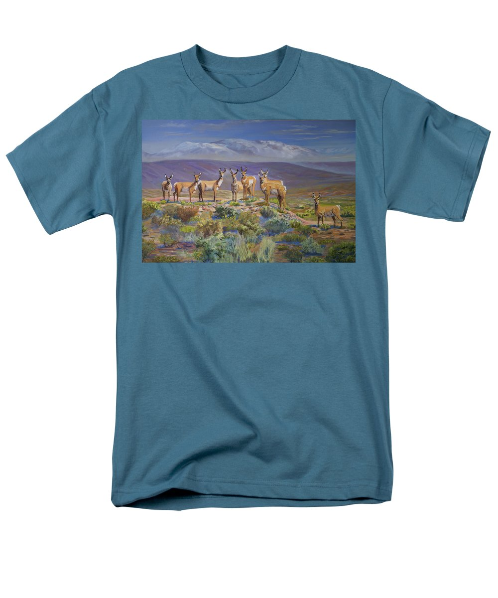 Antelope Men's T-Shirt (Regular Fit) featuring the painting Say Cheese Antelope by Heather Coen