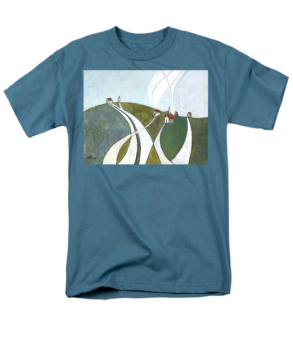 Painting Men's T-Shirt (Regular Fit) featuring the painting Scattered houses by Aniko Hencz