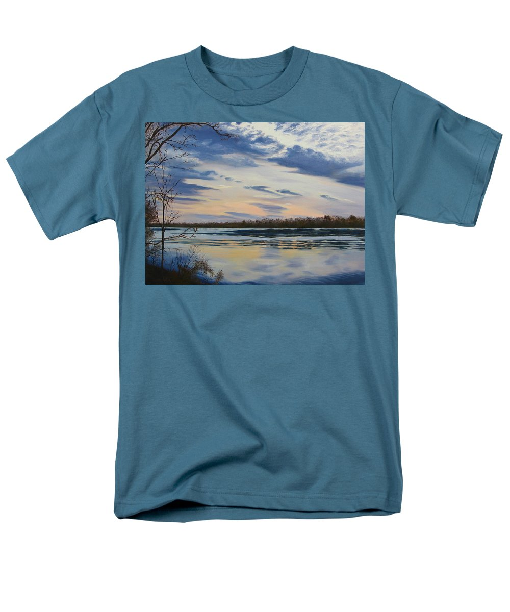 Clouds Men's T-Shirt (Regular Fit) featuring the painting Scenic Overlook - Delaware River by Lea Novak