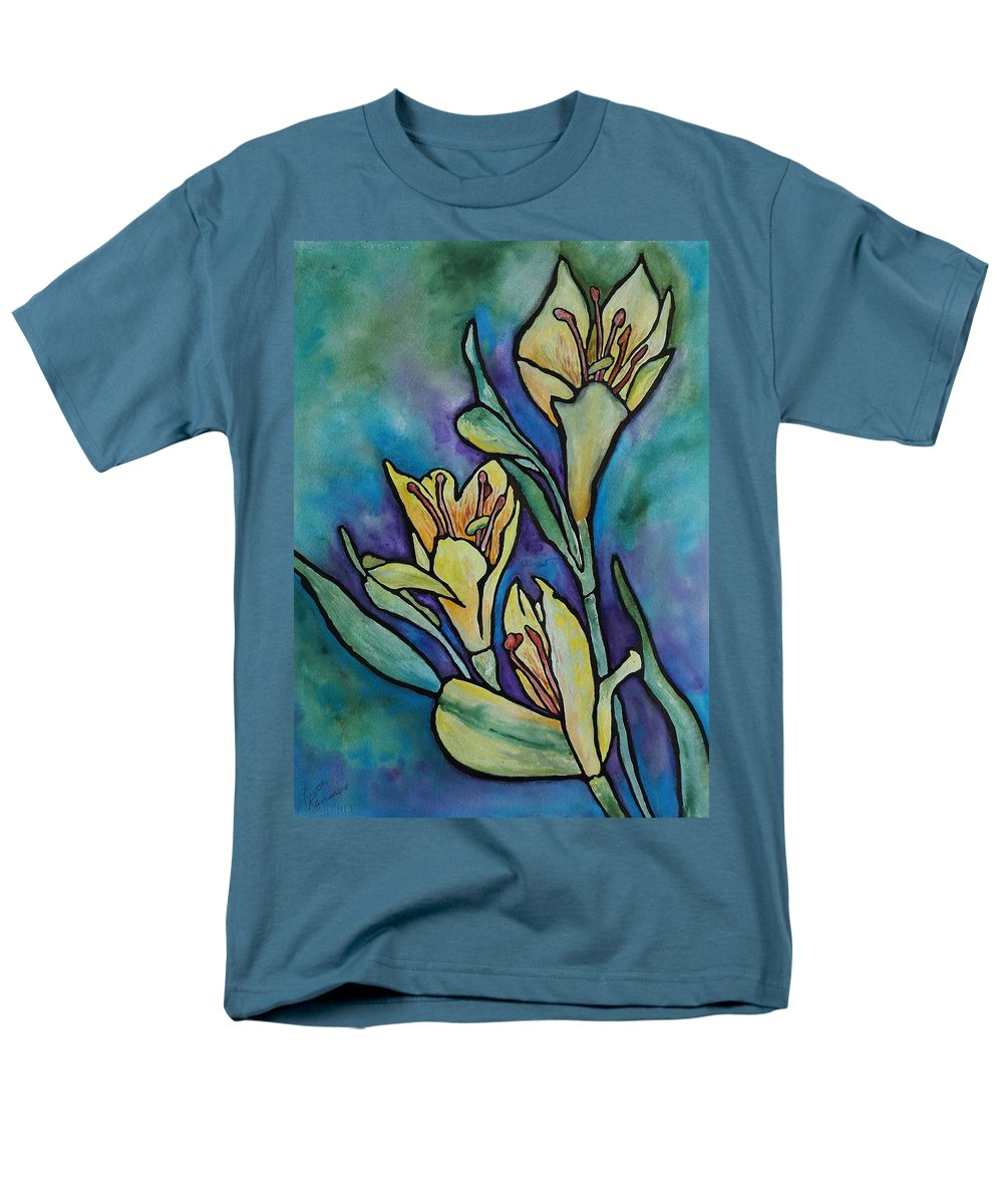Flowers Men's T-Shirt (Regular Fit) featuring the painting Stained Glass Flowers by Ruth Kamenev