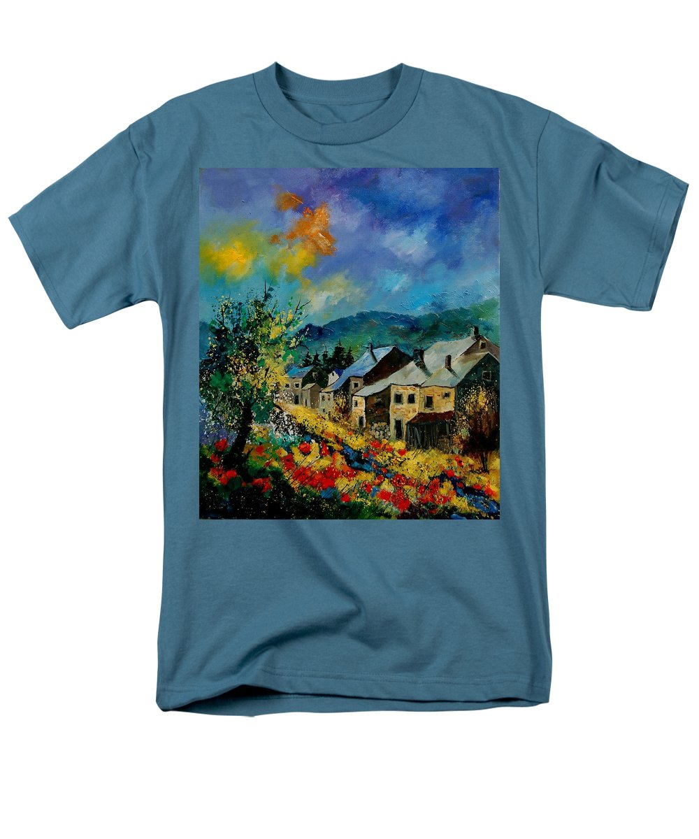 Poppies Men's T-Shirt (Regular Fit) featuring the painting Summer in Mogimont by Pol Ledent