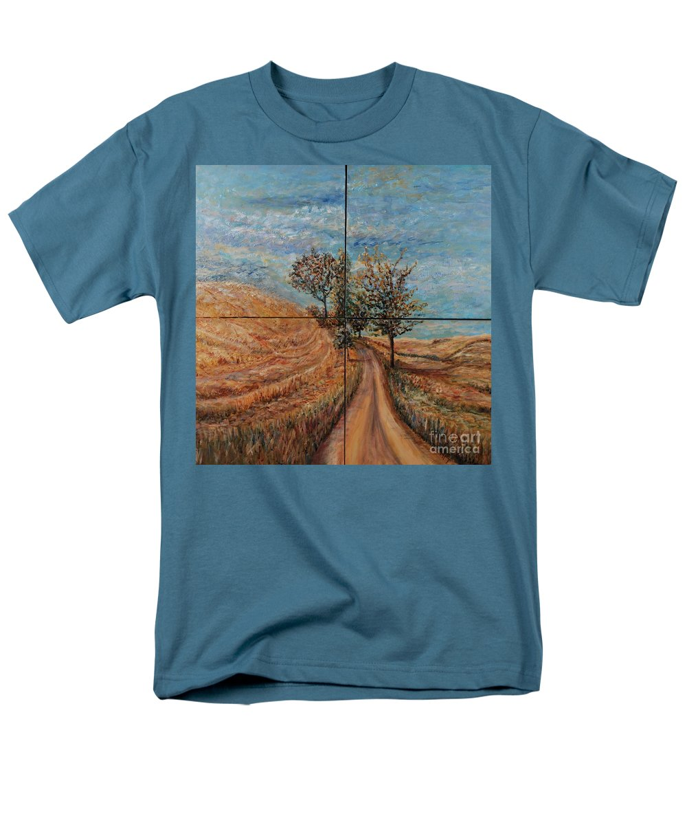 Landscape Men's T-Shirt (Regular Fit) featuring the painting Tuscan Journey by Nadine Rippelmeyer