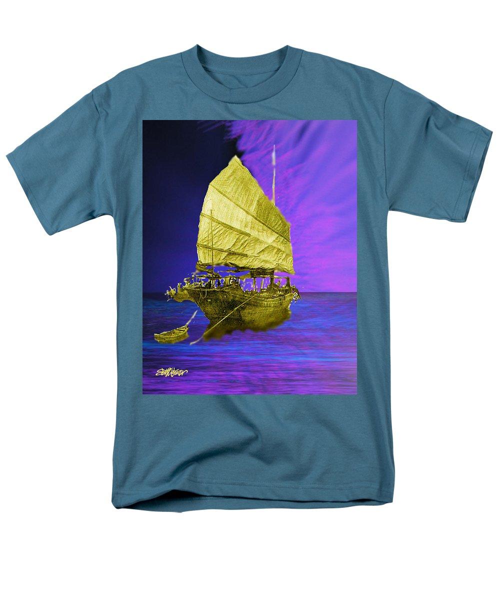 Nautical Men's T-Shirt (Regular Fit) featuring the digital art Under Golden Sails by Seth Weaver