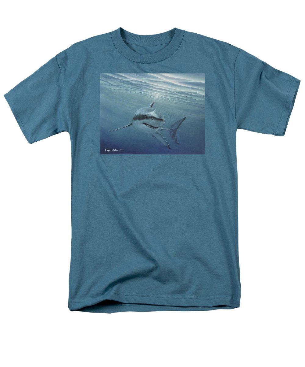 Shark Men's T-Shirt (Regular Fit) featuring the painting White Shark by Angel Ortiz
