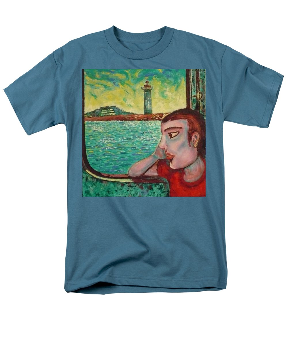 Window Men's T-Shirt (Regular Fit) featuring the painting Young Man In A Window by Ericka Herazo