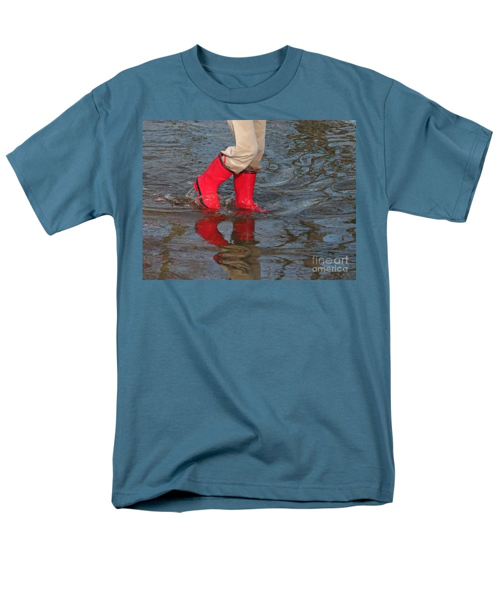 Puddle Men's T-Shirt (Regular Fit) featuring the photograph Red Boots by Ann Horn