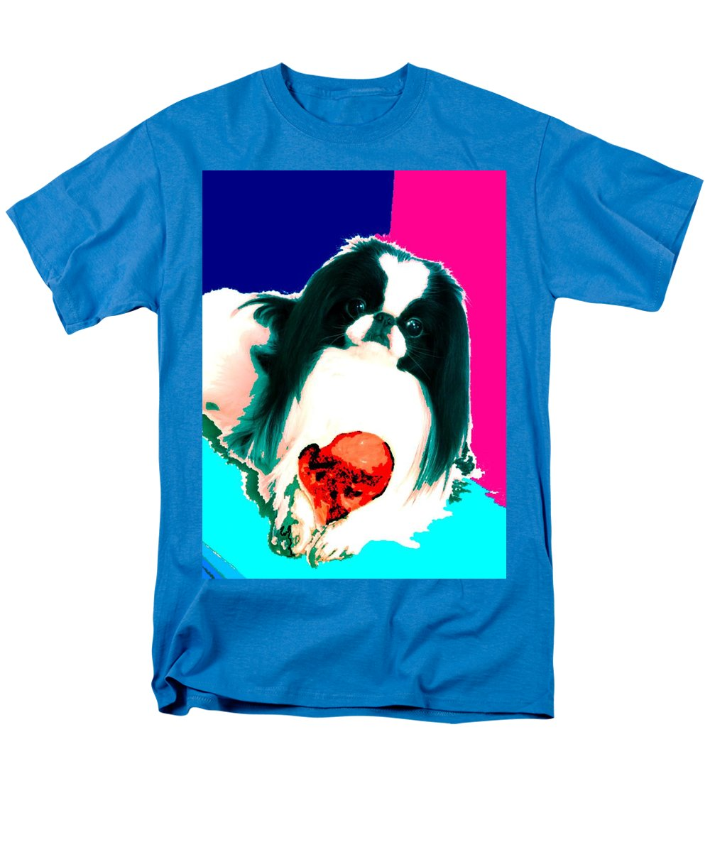 A Japanese Chin And His Toy Men's T-Shirt (Regular Fit) featuring the digital art A Japanese Chin And His Toy by Kathleen Sepulveda