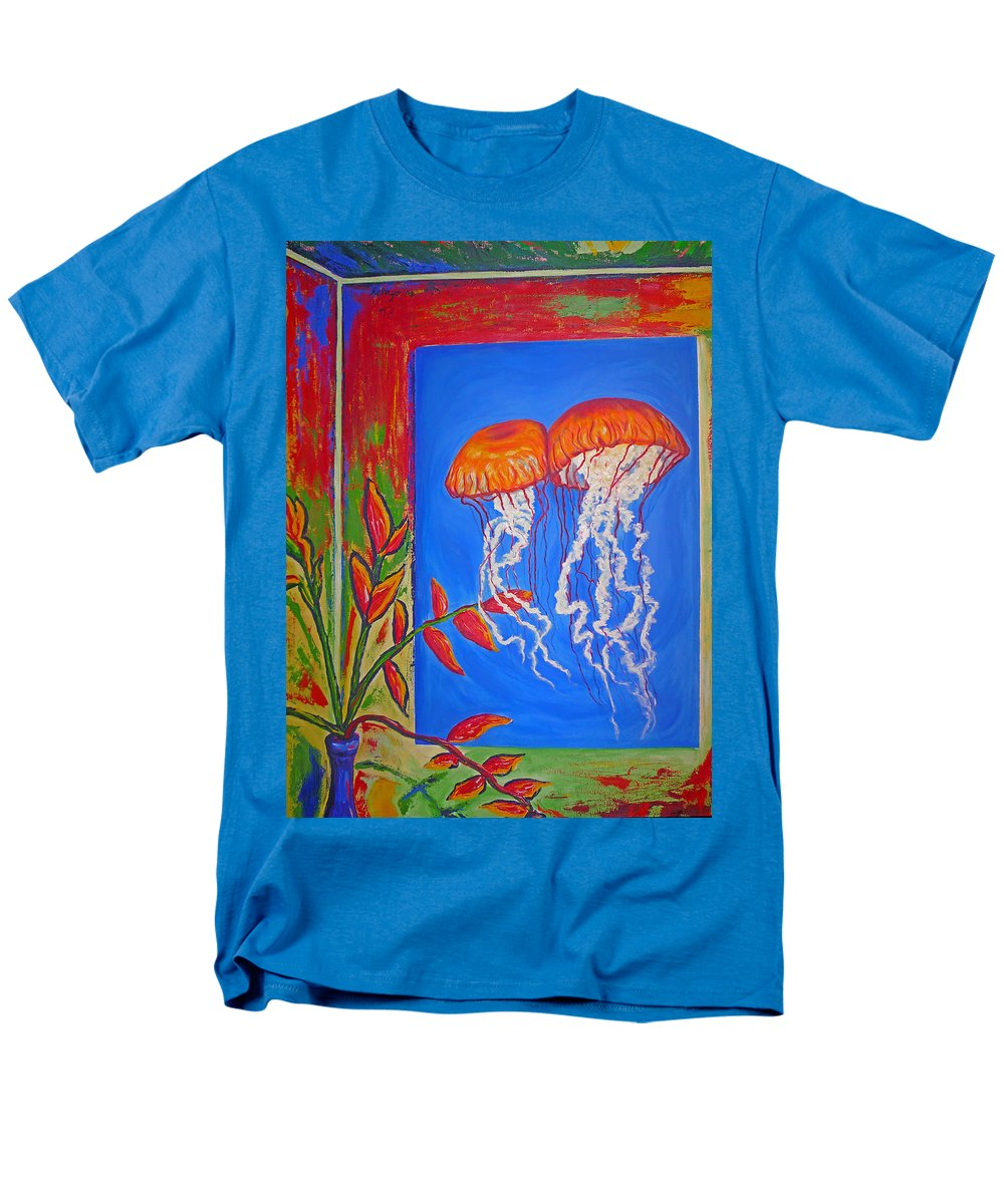 Jellyfish Men's T-Shirt (Regular Fit) featuring the painting Jellyfish With Flowers by Ericka Herazo