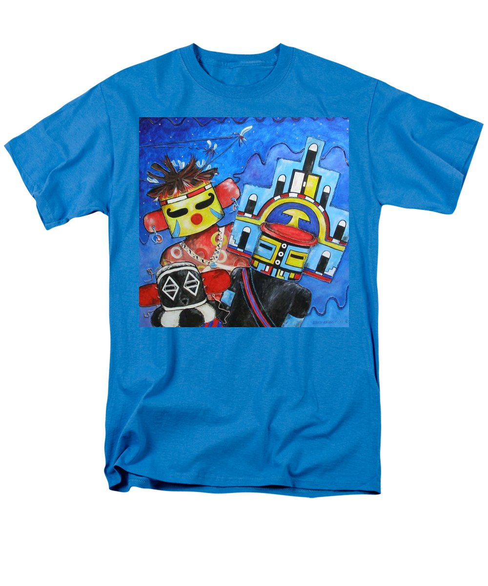 Native Men's T-Shirt (Regular Fit) featuring the painting Kachina Knights by Elaine Booth-Kallweit