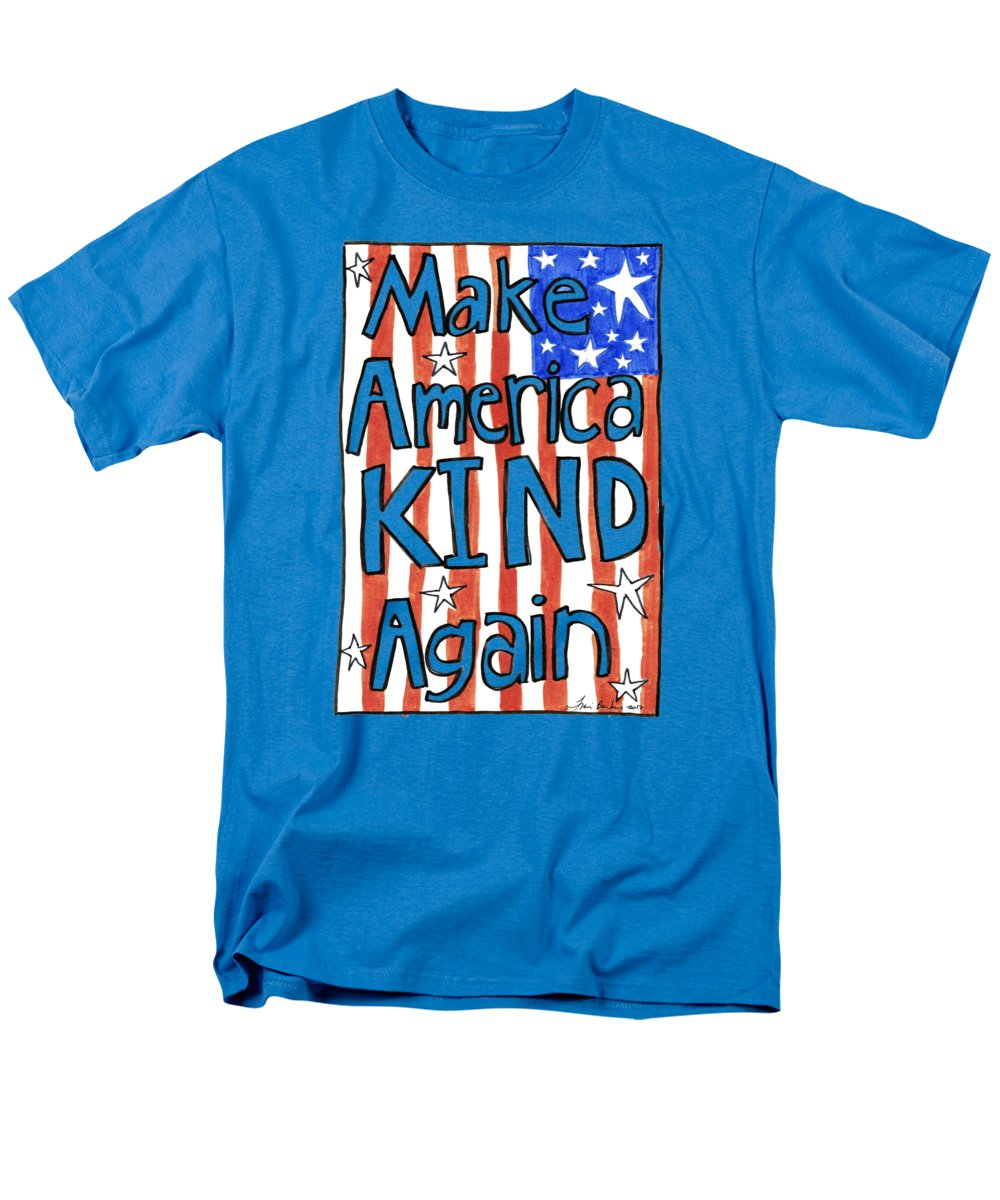 America Men's T-Shirt (Regular Fit) featuring the drawing Make America Kind Again by Traci Bunkers