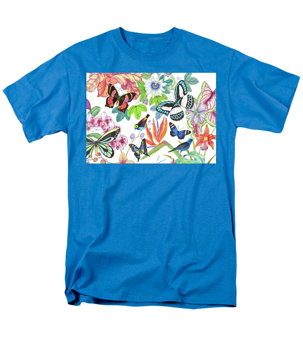 Tropical Birds Men's T-Shirt (Regular Fit) featuring the painting Paradise Tanager by Lucy Arnold