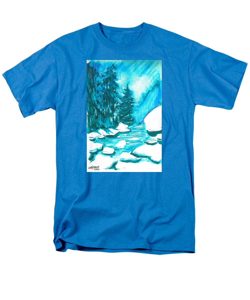 Chilling Men's T-Shirt (Regular Fit) featuring the mixed media Snowy Creek Banks by Seth Weaver