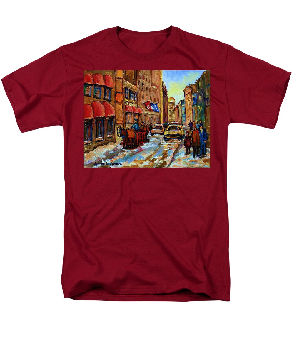 Horses Men's T-Shirt (Regular Fit) featuring the painting The Red Sled by Carole Spandau