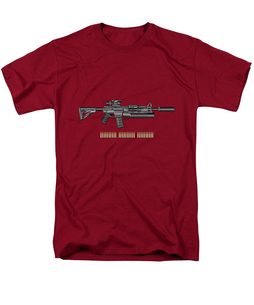 �the Armory� By Serge Averbukh Men's T-Shirt (Regular Fit) featuring the photograph Colt M 4 A 1 S O P M O D Carbine With 5.56 N A T O Rounds On Red Velvet by Serge Averbukh