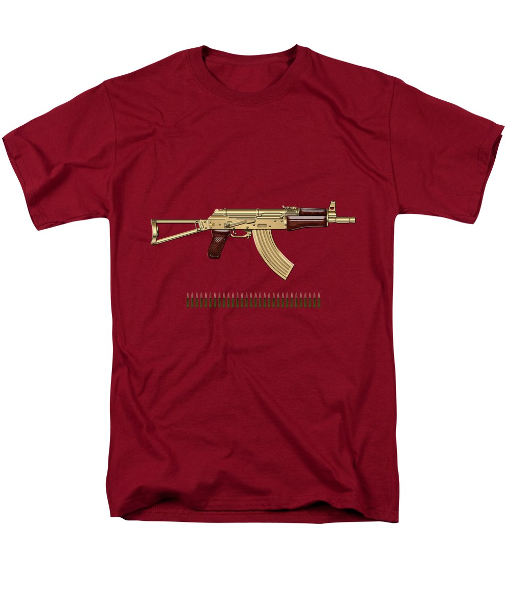'the Armory' Collection By Serge Averbukh Men's T-Shirt (Regular Fit) featuring the photograph Gold A K S-74 U Assault Rifle With 5.45x39 Rounds Over Red Velvet  by Serge Averbukh