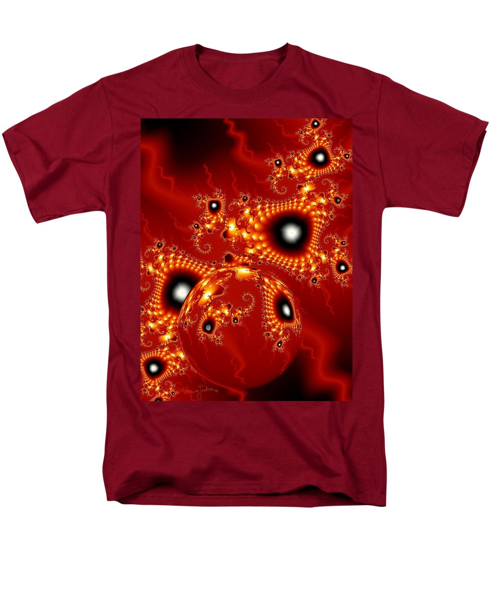 Fractal Passion Love Red Sphere Men's T-Shirt (Regular Fit) featuring the digital art Blood in love by Veronica Jackson