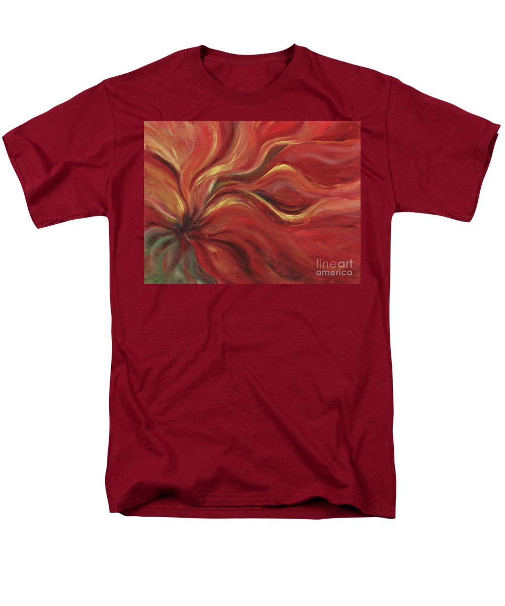 Red Men's T-Shirt (Regular Fit) featuring the painting Flaming Flower by Nadine Rippelmeyer