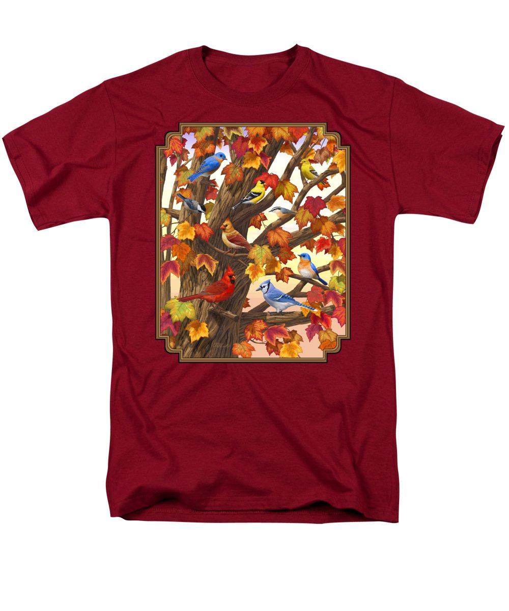 Bird Men's T-Shirt (Regular Fit) featuring the painting Maple Tree Marvel - Bird Painting by Crista Forest