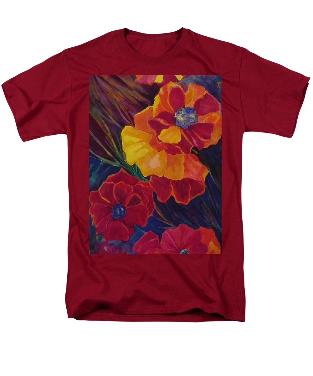 Flowers Men's T-Shirt (Regular Fit) featuring the painting Poppies by Carolyn LeGrand