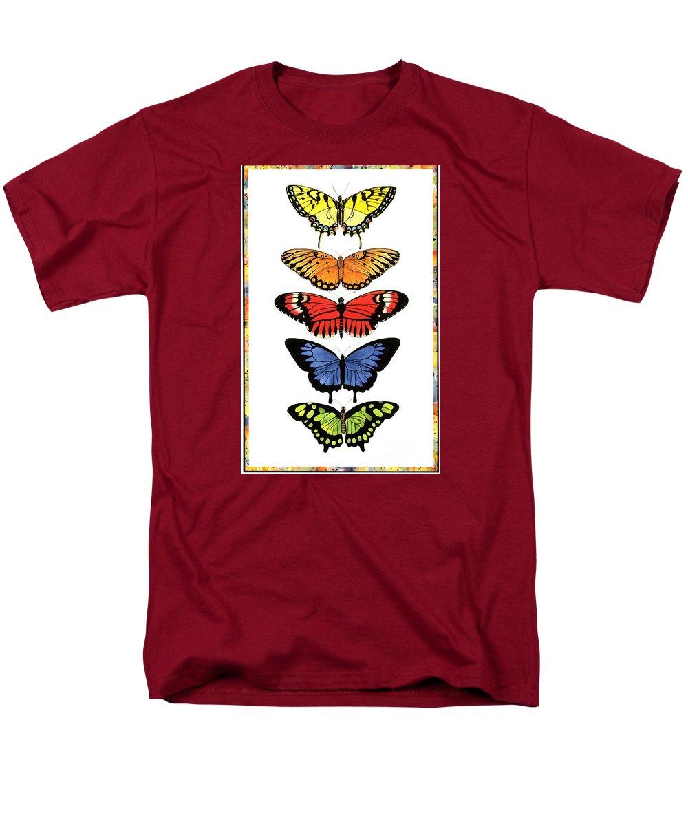 Butterflies Men's T-Shirt (Regular Fit) featuring the painting Rainbow Butterflies by Lucy Arnold