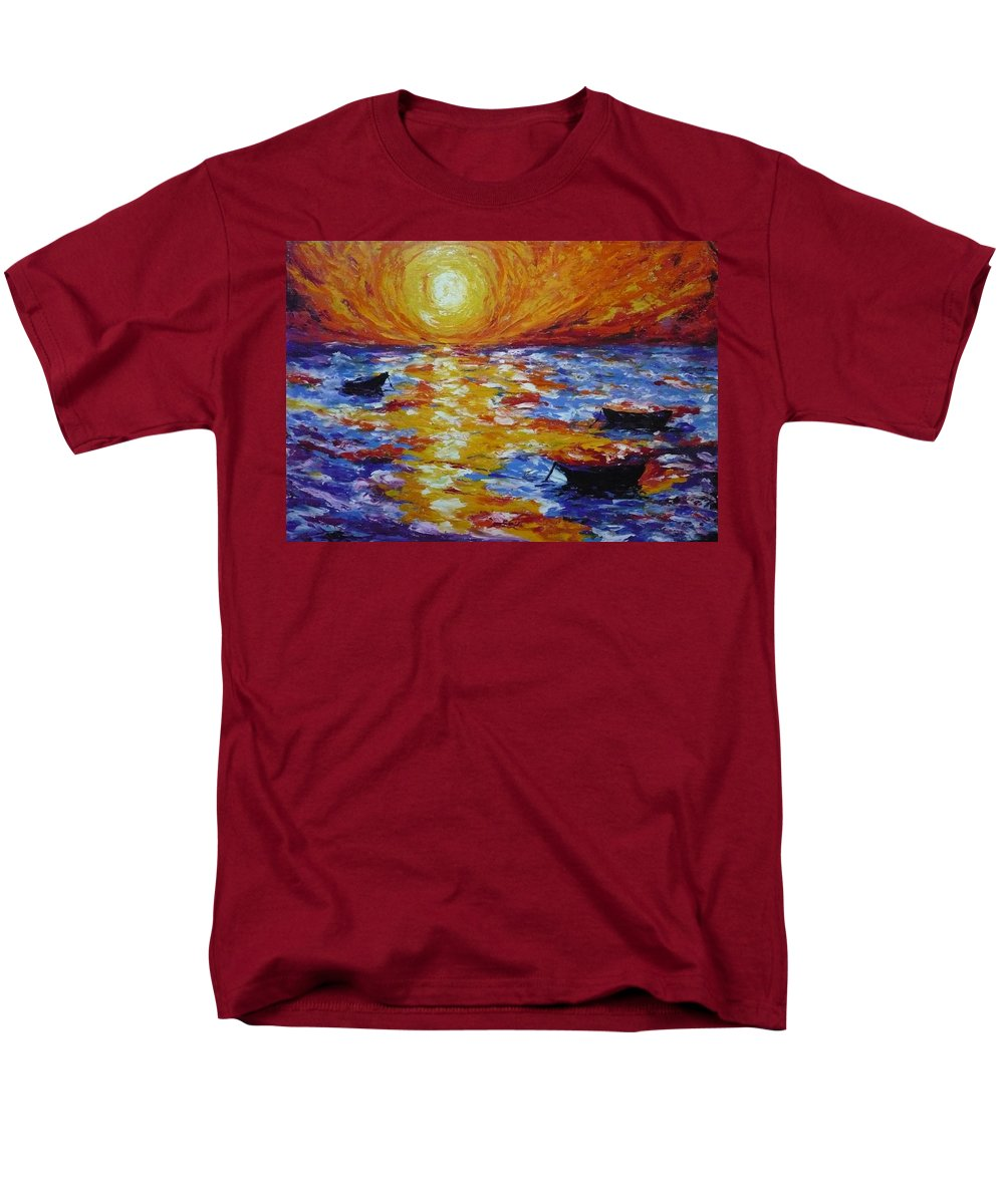 Landscape Men's T-Shirt (Regular Fit) featuring the painting Sunset With Three Boats by Ericka Herazo