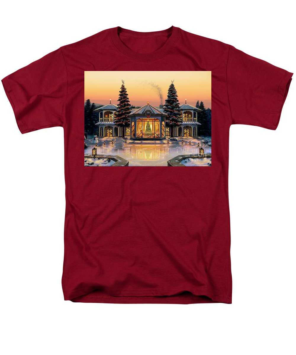 Christmas Men's T-Shirt (Regular Fit) featuring the painting A Warm Home For The Holidays by Stu Shepherd