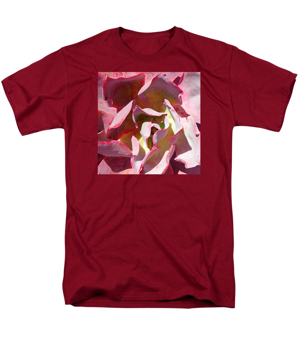 Succulent Men's T-Shirt (Regular Fit) featuring the photograph Pink Succulent Square Close Up 3 by Amy Vangsgard