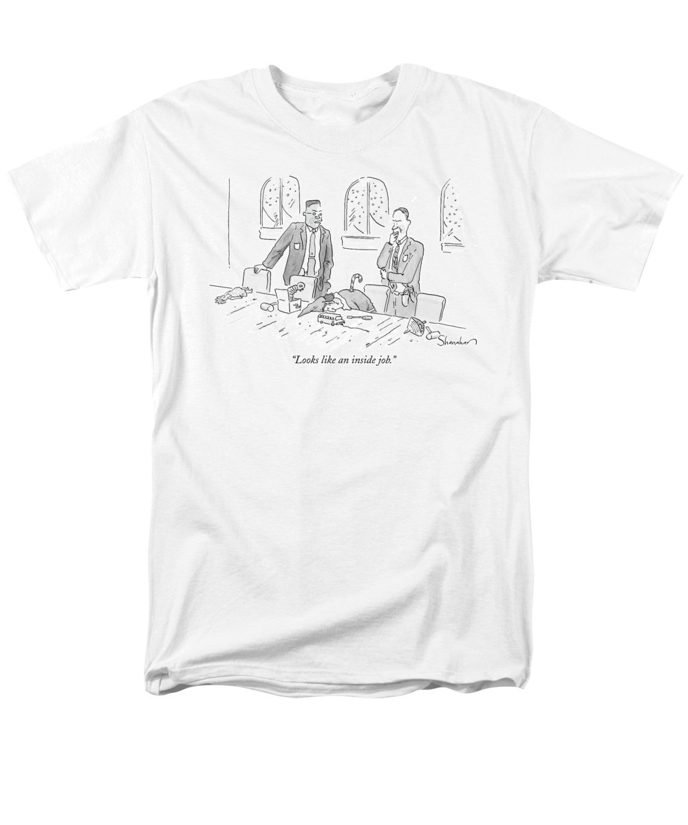 Christmas Men's T-Shirt (Regular Fit) featuring the drawing Looks Like An Inside Job by Danny Shanahan