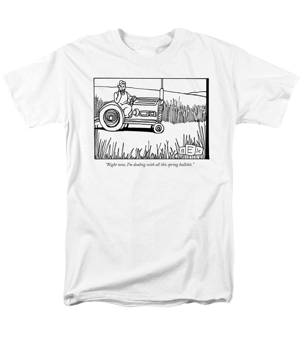 Spring Men's T-Shirt (Regular Fit) featuring the drawing Right Now, I'm Dealing With All This Spring by Bruce Eric Kaplan
