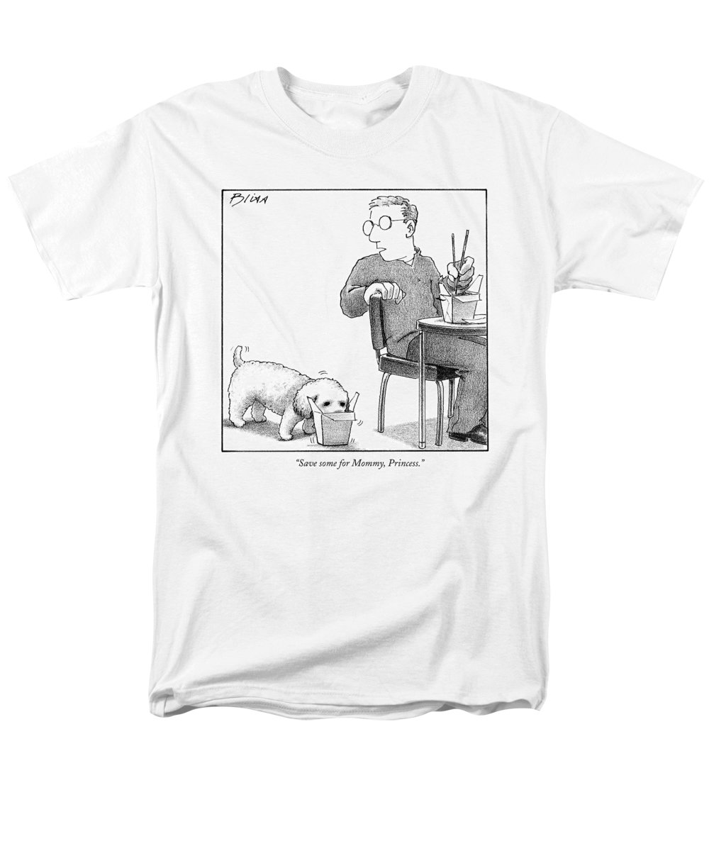 Food Men's T-Shirt (Regular Fit) featuring the drawing Save Some For Mommy by Harry Bliss