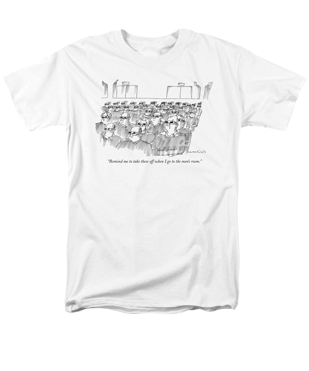 Senility Men's T-Shirt (Regular Fit) featuring the drawing Remind Me To Take These Off When I Go by Michael Crawford