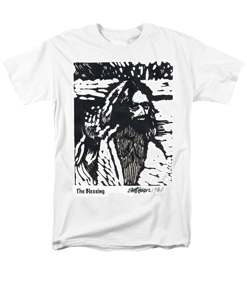 Jesus Christ Men's T-Shirt (Regular Fit) featuring the mixed media The Blessing by Seth Weaver