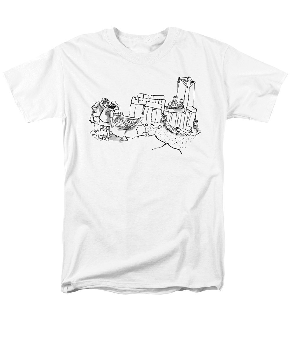 Stonehenge Men's T-Shirt (Regular Fit) featuring the drawing New Yorker February 23rd, 2009 by Sidney Harris