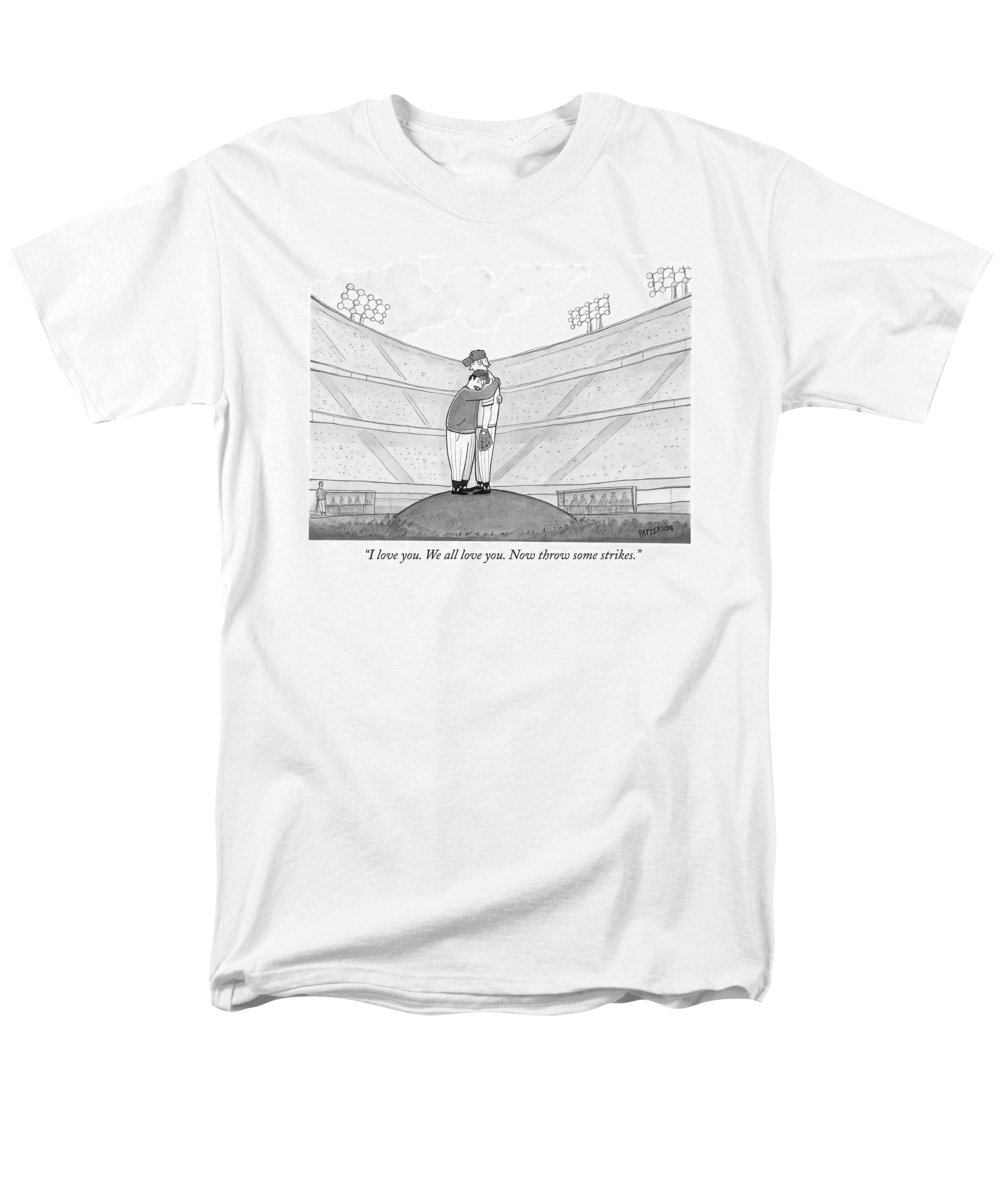 Support Men's T-Shirt (Regular Fit) featuring the drawing I Love You. We All Love You. Now Throw Some by Jason Patterson