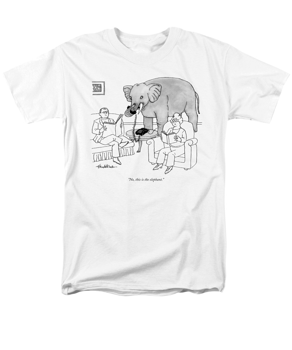 Elephants Talking Pets   (elephant Answering A Phone In A Living Room.) 121678 Jha J.b. Handelsman Men's T-Shirt (Regular Fit) featuring the drawing No, This Is The Elephant by J.B. Handelsman
